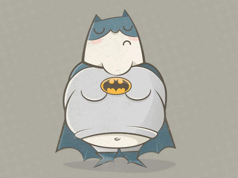 Too Fat To Bat batman fat bat character illustration retro wallpaper iphone ipad quirky neutral muted