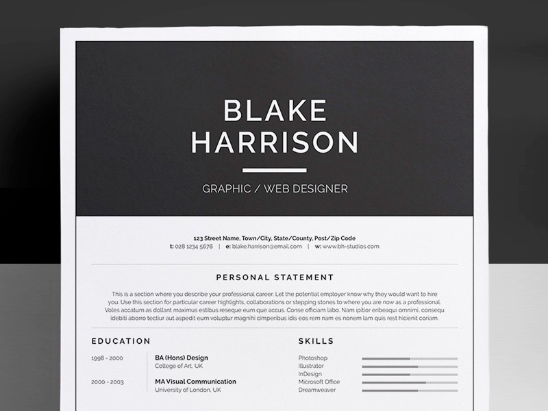 resume cv blake by bill mawhinney dribbble