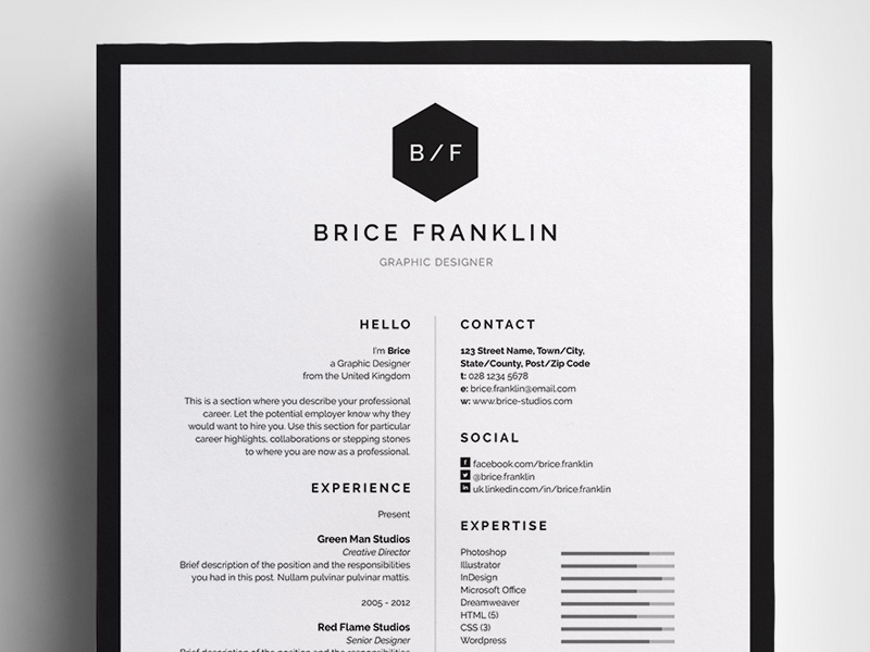 Resume Cv Brice By Bill Mawhinney Dribbble Dribbble
