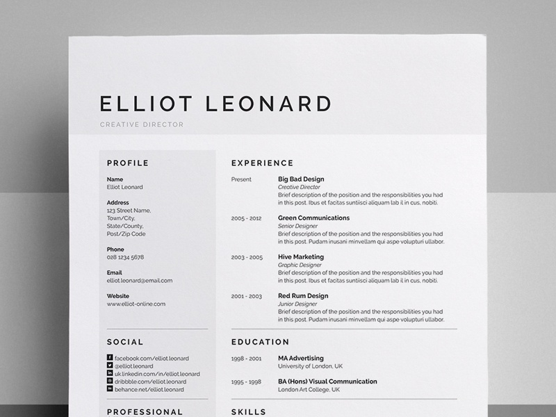 Resume Cv Elliot By Bill Mawhinney Dribbble