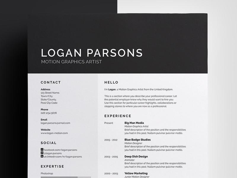 Resume/CV - 'Logan' cv design resume professional template curriculum vitae employment job portfolio