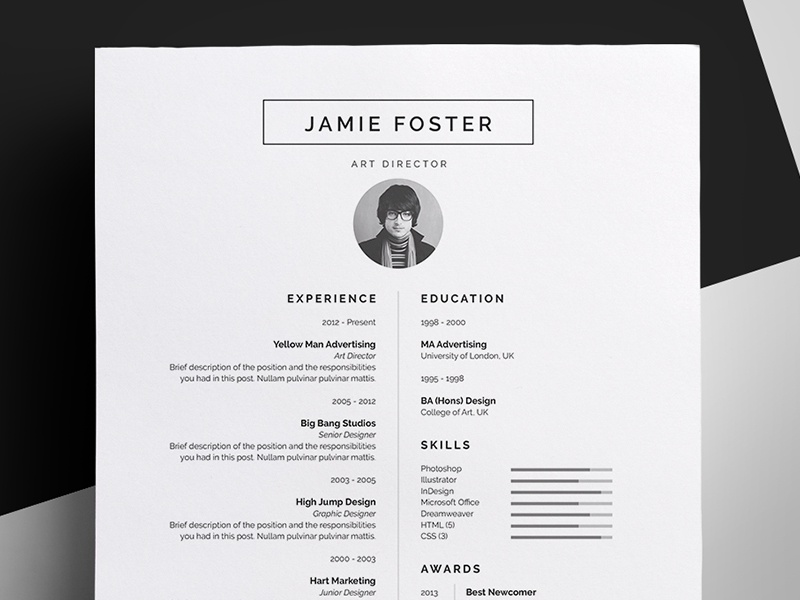 resume cv jamie by bill mawhinney dribbble