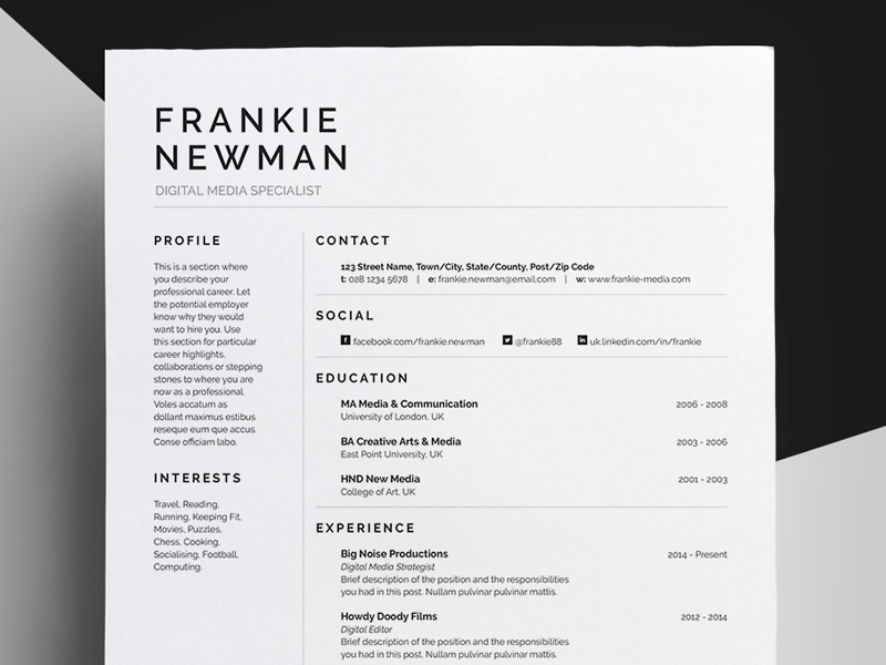 Resume/CV - 'Frankie' by Bill Mawhinney | Dribbble | Dribbble