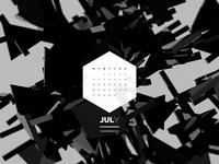 Dark Polygon Calendar - July