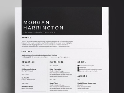 Resume/CV - 'Morgan'