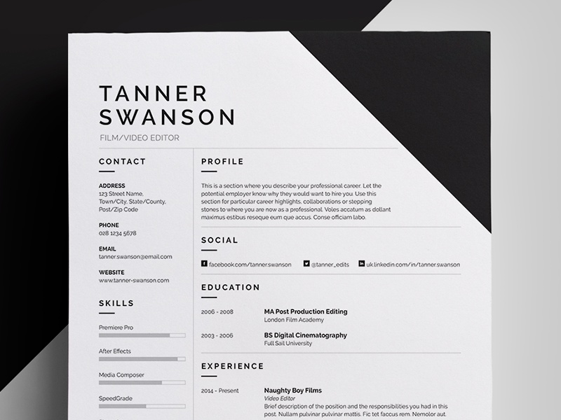 resume design template resume cv by bill mawhinney dribbble 24337 | resume tanner dribbble