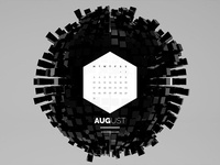 Dark Polygon Calendar - August