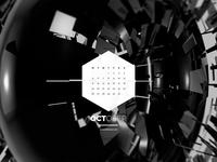 Dark Polygon Calendar - October