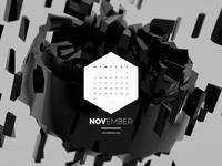 Dark Polygon Calendar - November