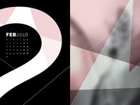 Abstract Desktop Calendar - February