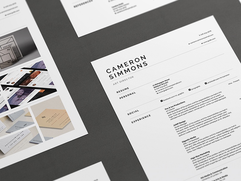 Pro Resume/CV - Cameron by Bill Mawhinney on Dribbble