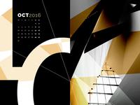 Abstract Desktop Calendar - October