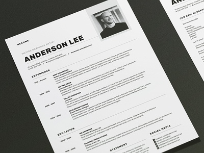 Resume/CV - 'Anderson' resume resume template resume design cover letter portfolio cv template cv design creative market