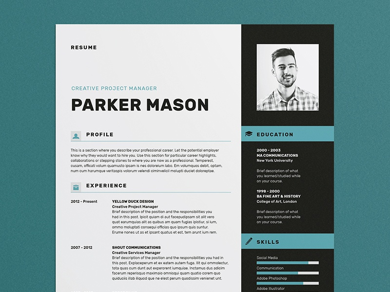 Resume/CV - 'Parker' resume resume template resume design cover letter portfolio cv template cv design creative market