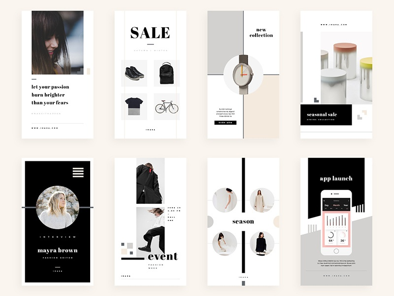 Inara - Social Media Bundle creative market pack bundle template facebook twitter minimal blog graphic promotion pinterest instagram social media