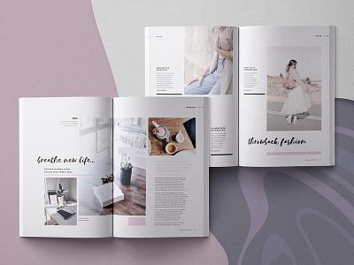Hasia - Lifestyle Magazine Template interiors fashion baseline grid modern minimal layout lifestyle editorial indesign template magazine