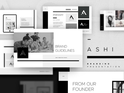 Ashi - Branding Presentation icons monochrome minimalist brand guidelines branding brand presentation keynote template powerpoint template