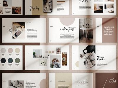 Powerpoint Kymila brand branding portfolio marketing design creative market powerpoint presentation template powerpoint template powerpoint design
