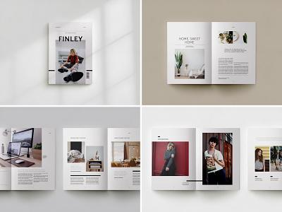 Finley Magazine editorial design baseline grid magazine cover modern minimal creative market indesign template lifestyle magazine magazine design