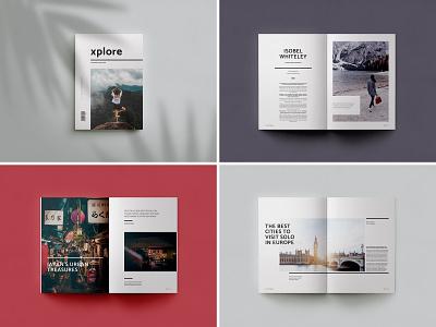 Xplore Magazine explore travel wanderlust magazine design indesign template creative market photo essay travel magazine magazine cover baseline grid editorial design