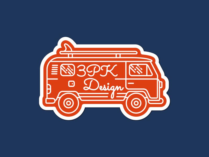 Line Art VW Bus Sticker - 3PK Design vw vw bus vector icon logo branding lineart illustration flat design