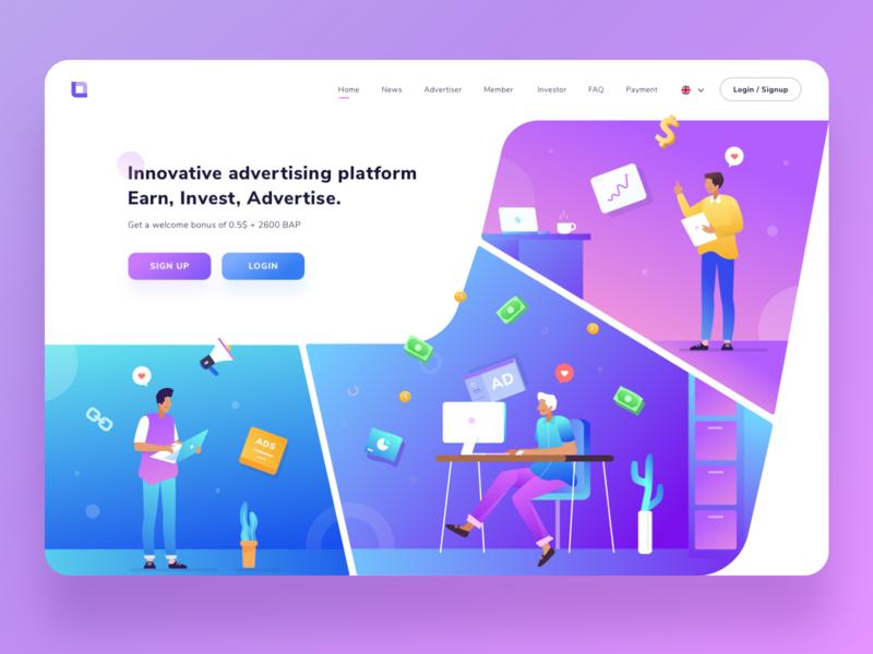 Landing Page Exploration for Advertising Platform platform advertising ux ui people colorful flat vector gradient illustration desktop website design landing page