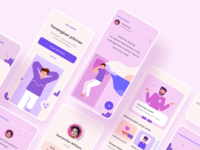 Relax Mobile Design Exploration flat ux ui relaxation dream sleep people vector illustration purple pink layout color clean simple card design app
