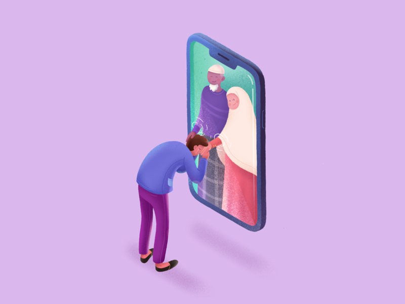Missing You people phone social distancing covid19 parent art isometric ui design texture procreate brush colorful gradient illustration