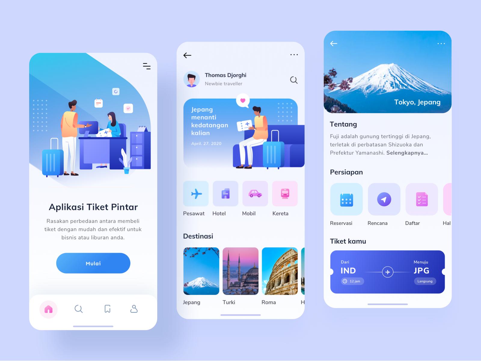 App Di Design ticket app design exploration by papay wicaksono for