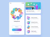 Printing Online App Exploration mobile gradient logo people icon middle east printing online vector ux ui minimalist illustration color app design