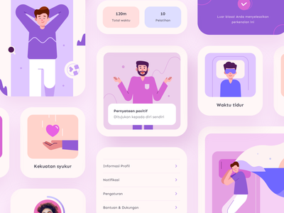 RelaxApp Assets uikit popup mobile app element assets card people information islamic portfolio userinterface ui colorful vector illustration