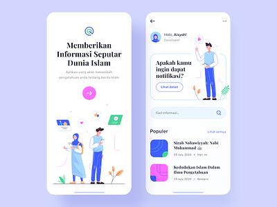 Islamic Information App information islamic typography logo icon colorful people flat vector illustration userinterface ui mobile app design