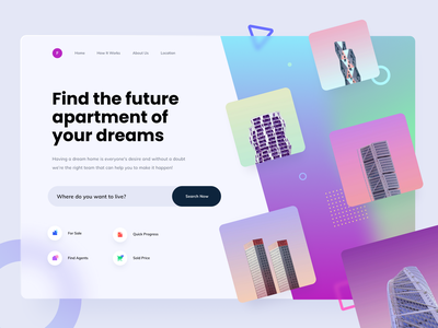 Real Estate Web Design Exploration layout ux ui realestate property buiding colorful rent sell buy broker apartments page home landing design web