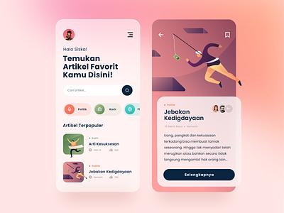 Article App Design Exploration people gradient product design ui illustration read style glass article blog bookmark design app design mobile app