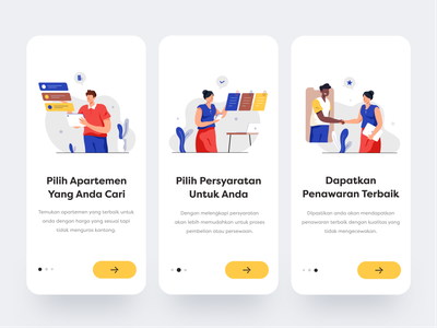 Onboarding for Buying Apartment App colorful simple design ui renting buying apartment illustration onboarding app mobile