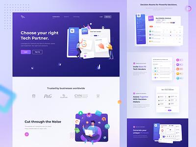 Tech Platform Landing Page ux ui platform tech colorful gradient illustration ui design design web website landing page