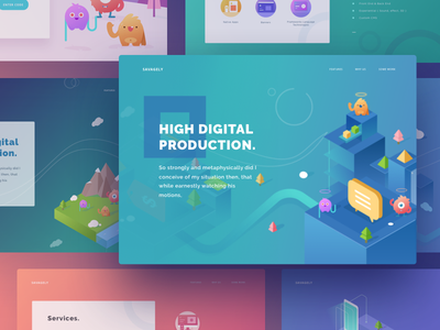 Savagely Landing Page Exploration agency icon building alien monster isometric illustration web landingpage