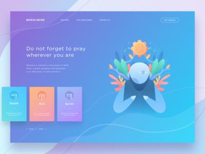 Moeslimine Landing Page leaf flower colorful pray islam moeslim agency icon illustration web landingpage
