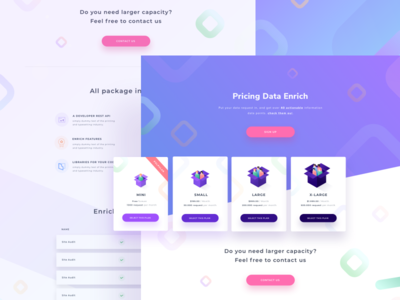 Enrich Pricing Data Plans box isometric icon illustration gradient study case web desktop landing