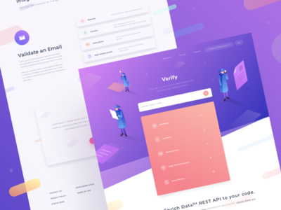 Enrich Verify Page people detective isometric icon illustration gradient study case web desktop landing