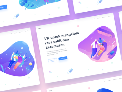Virtual Reality Other Pages peoples old patient doctor reality virtual ui desktop colorful people isometric flat vector gradient illustration design landing page web