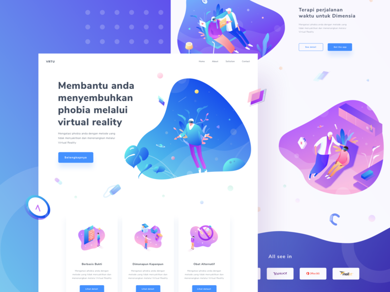Final Virtual Reality Landing Page care health doctor patient ux case ui desktop colorful people isometric flat vector gradient illustration layout design web page landing