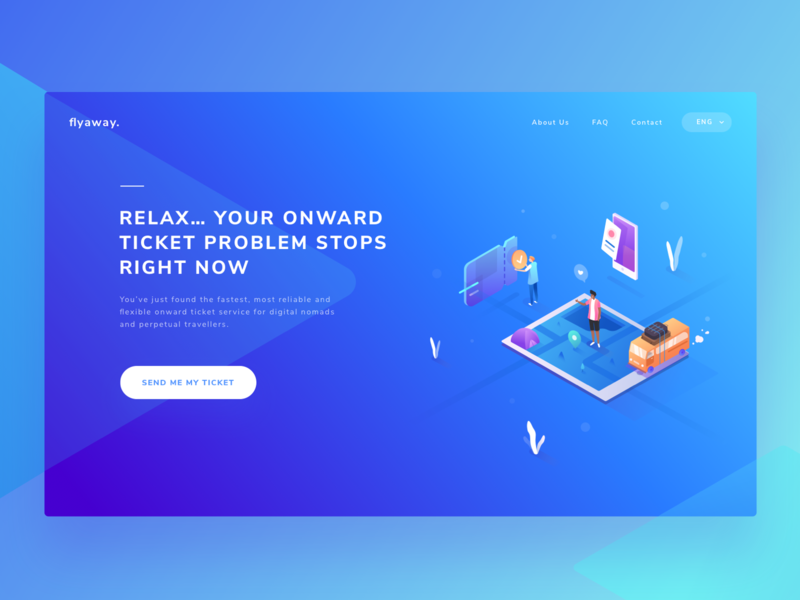 Trip landing page exploration ux graphic ui colorful flat vector people ticket traveling trip gradient isometric illustration desktop design web page landing