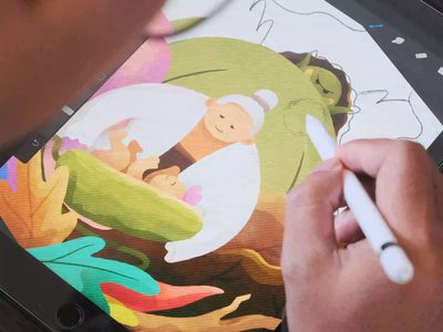 Illustration Process for The Golden Cucumber gradient colorful ux ui design forest giant baby indonesian legend story flat video ipadpro procreate texture brush drawing process illustration