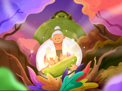 The Golden Cucumber Final Version legend cucumbe golden old woman forest giant green baby procreate ipadpro brush texture javanese indonesian story colorful flat gradient illustration