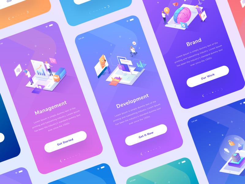 Mobile Apps Exploration Design study vector device people ux ui landing color gradient isometric illustration design mobile app