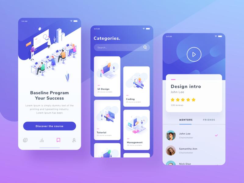 Exploration for Course Mobile App study ux ui design colorful isometric vector people illustration gradient course mobile app