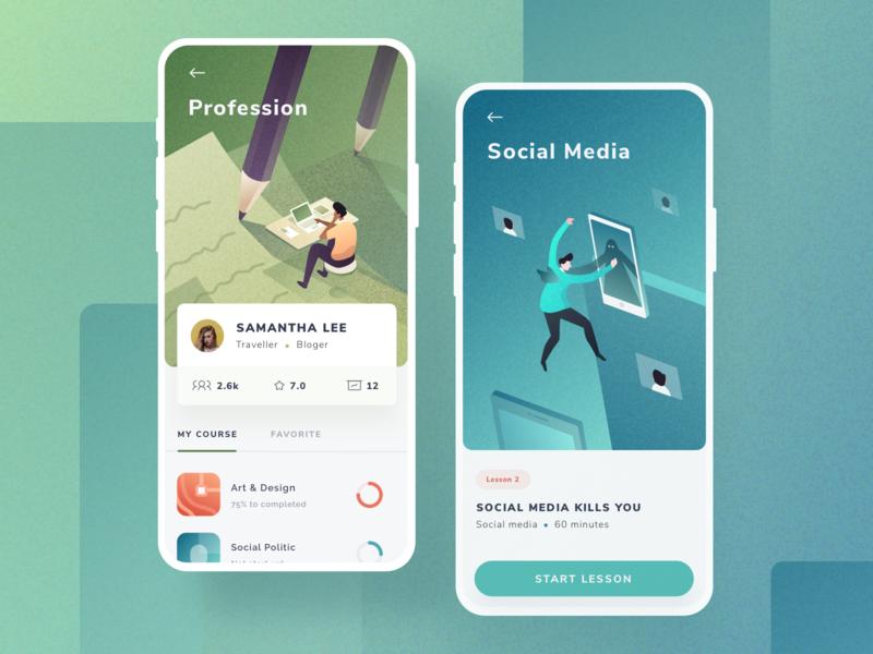 Course App Exploration isometric vector social media education people course texture color gradient illustration ui  ux layout design mobile app