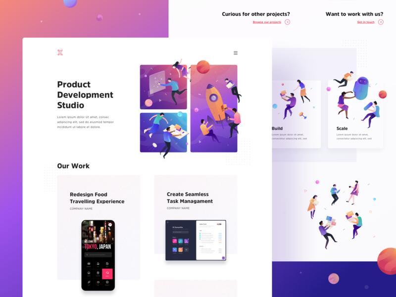 Landing Page for Product Development Studio desktop people flat uiux vector texture color gradient space illustration simple clean layout web design page landing