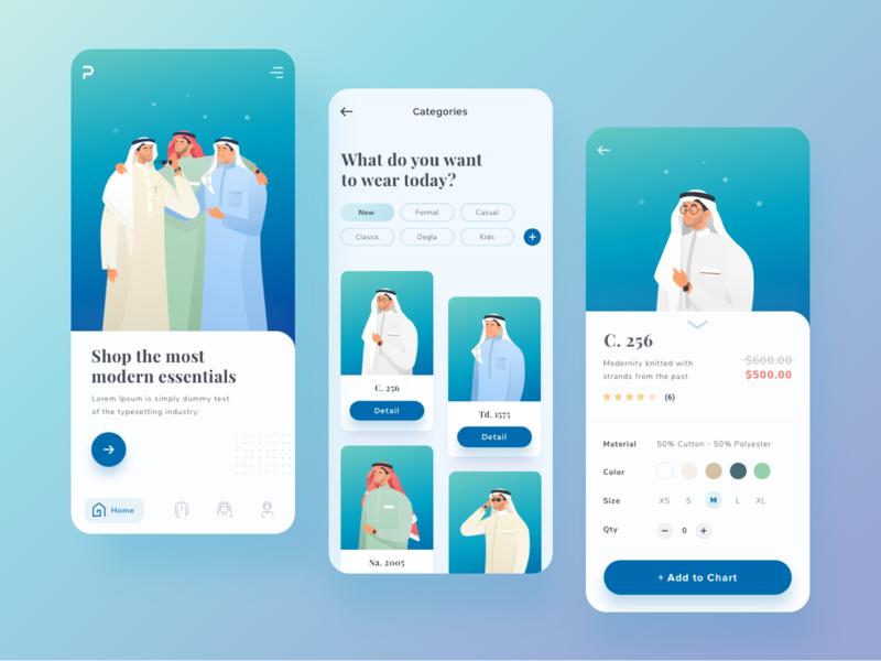 Mobile app exploration for arabian fashion colorful style people flat vector gradient illustration uiux design fashion mobile app